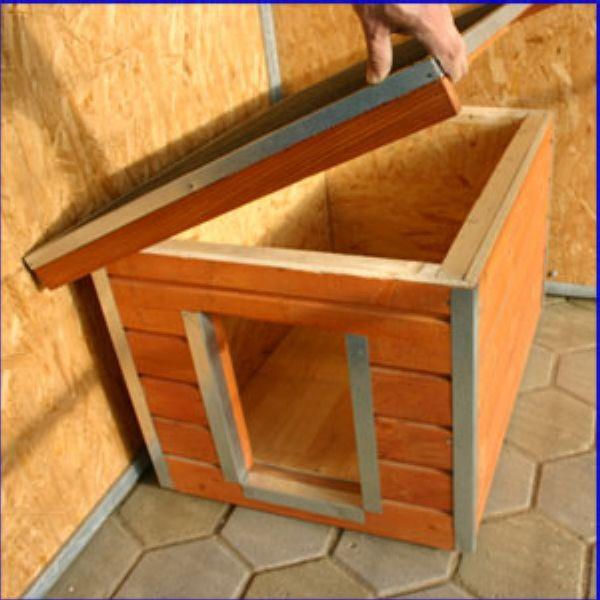 niche en bois pour chiens madera toit plat. Black Bedroom Furniture Sets. Home Design Ideas